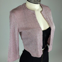 90's Pastel Pink Glitter Clueless Cardigan Sweater Top