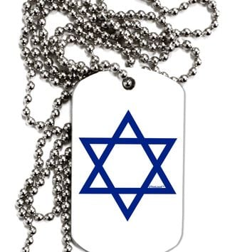 Jewish Star of David Adult Dog Tag Chain Necklace by TooLoud