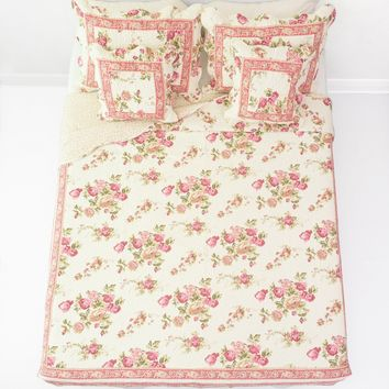 DaDa Bedding French Country Cottage Floral Mauve Cotton Patchwork Quilted Bedspread Set (DXJ103136)