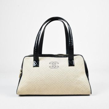 Chanel Cream & Black Patent Leather & Knit Quilted Bowler Bag