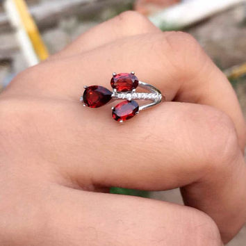 Natural red garnet gem Ring Natural gemstone ring S925 sterling silver trendy Elegant big Tree branches for women girl Jewelry