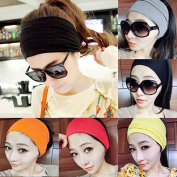 Women Stretch Turban Headband Sport Accessory Dance Biker Wide Headbands Cotton Head Wrap Bandana Headwear Hair Accessories