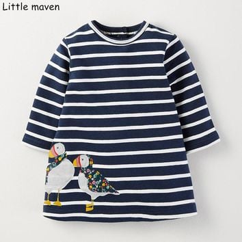 Little maven kids brand clothing 2017 new autumn baby girls clothes Cotton bird embroidered girl A-line stripped dresses S0262