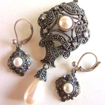Marcasite Sterling Silver JUDITH JACK Brooch & Earrings, Victorian, Faux Pearl, Dangle, Vintage