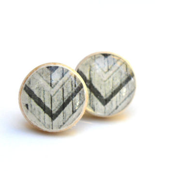 Black and white tribal studs chevron studs post earrings  eco friendly jewelry earrings wood earrings jewelry for her