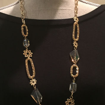 Gold Necklace with Clear Crystals