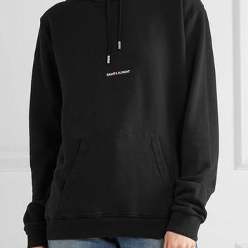 saint laurent fashion black pullover hoodie
