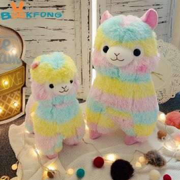 Lovely 35cm Rainbow Alpaca Vicugna Pacos Lama Arpakasso Alpacasso Stuffed Plush Doll Toy Kid Gift