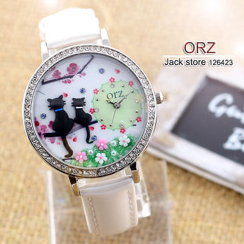 Diamond watch creative DIY ladies watch cartoon cat lovers premium brand female table orz Z663