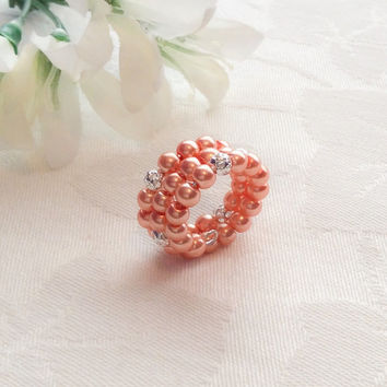 Coral Pearl Ring Coral Jewelry Bridesmaid Jewelry Coral Ring Wedding