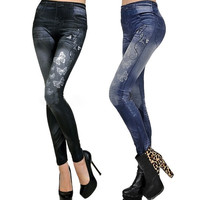 Lady Women Butterfly Imitation Denim Jeans Leggings Pencil Pants Tights Trousers D_L = 1712906116