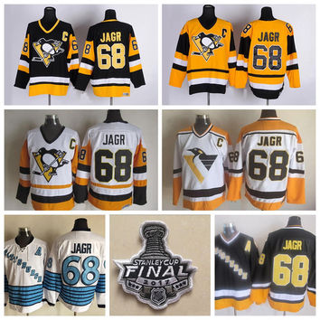 2017 Stanley Cup Finals Jaromir Jagr Pittsburgh Penguins Hockey Jerseys Throwback 68 Jaromir Jagr Jerseys 1992 CCM Vintage Stitched A Patch