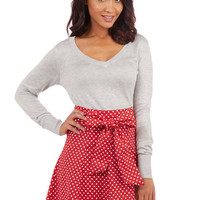 ModCloth Nautical Mid-length A-line Musee Matisse Skirt in Red Dots
