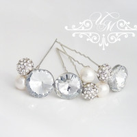Bridal hair pins set of 3 Pearl Rhinestone hair pins Wedding hair pins Pearl Hair Accessories Bridal tiara Swarovski Pearls hair pins