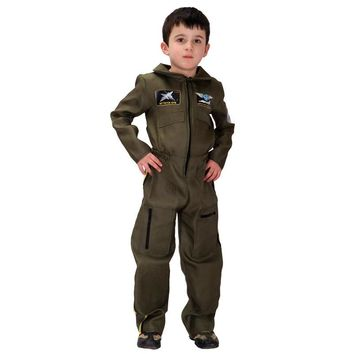 2018 Kids Boys Police Pilot Costume Cosplay Air Force Halloween Costumes Children Fantasia Jumpsuits