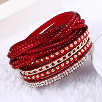Multilayer Leather Christmas Bracelet For Women