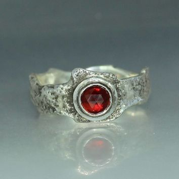 A Womans  Ring Natural  Rose Cut Garnet  Silver Jewelry Handmade Ring  Organic Womans Engagement Ring Womans Ring