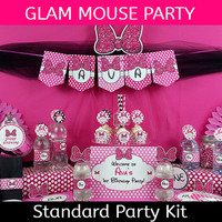Glam Mouse Party Package / Minnie Mouse Party Decorations / Minnie Mouse Birthday Standard Kit