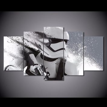 Canvas Painting Home Decor Living Room 5 Pieces Star Wars Pictures Modular HD Print Stormtrooper Movie Poster Wall Art Framework