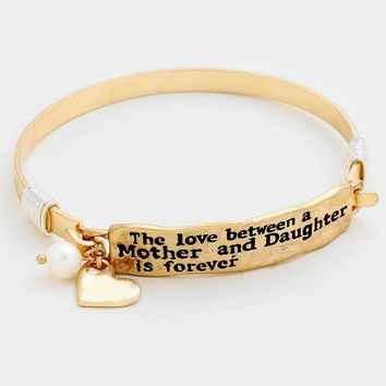 Mother & Daughter Heart Charm Hook Bracelet