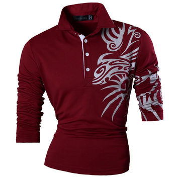New Fashion Mens Casual Dragon Print  polo Long Sleeves Shirt Tee Tops Slim Trend Designed Shirt 5 Colors