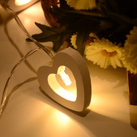 10 Leds Warm White Wood Cute Heart Shapes Romantic LED String Light For Festive Christmas Birthday Wedding Party