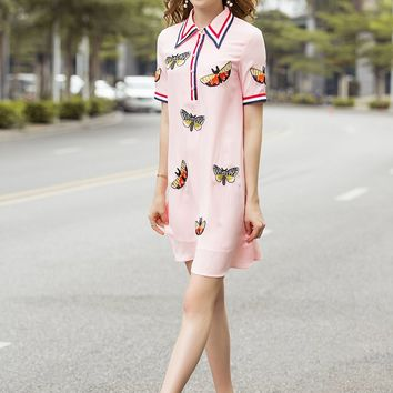 Embroidery Pink Dress