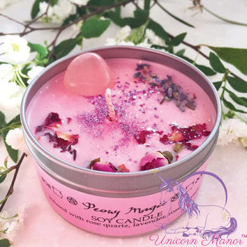 MYSTIC UNICORN Peony Magic soy crystal candle rose quartz vegan organic magic witch wicca aromatherapy lavender glitter pink - Unicorn Manor