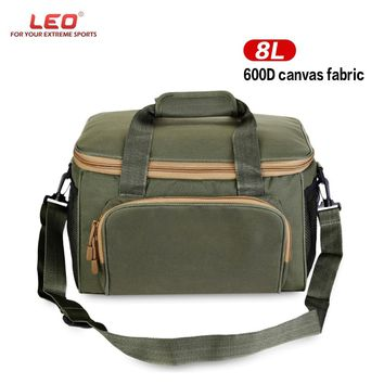 LEO Multifunctional Fishing Bags 600D Canvas Outdoor Waist Shoulder Bags Reel Lure Carrier Storage Bag Fishing Tackle Bag
