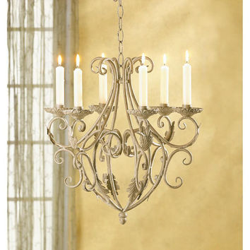 Romantic Old World Style Elegant Royalty's Wrought Iron Candle Holder Chandelier