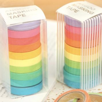 10PCS/box Rainbow Gay is OK Solid Color Japanese Masking Washi Sticky Paper Tape Adhesive Stickers