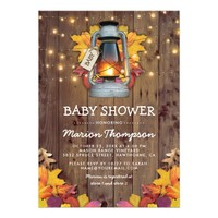 Rustic Fall String Twinkle Lights Baby Shower Card