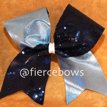 Navy and Columbia Blue Cheer Bow