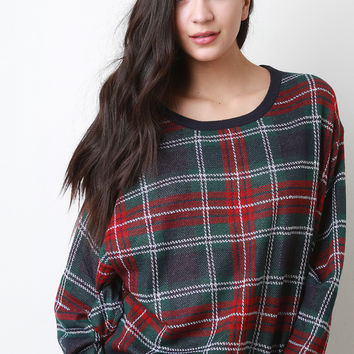 Knit Plaid Dolman Sleeve Top