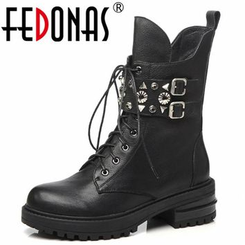 FEDONAS Punk Rivets Motorcycle Boots For Women Thick High Heels Autumn Winter Short Martin Shoes Woman Genuine Leather High Boot