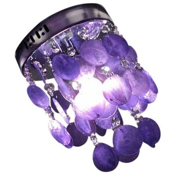 NFLC-Child Bedroom Purple Crystal Shell Pendant Lamp Chandelier Ceiling Fixture light