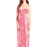 Callie Maternity Maxi in Coral Brush Stripe