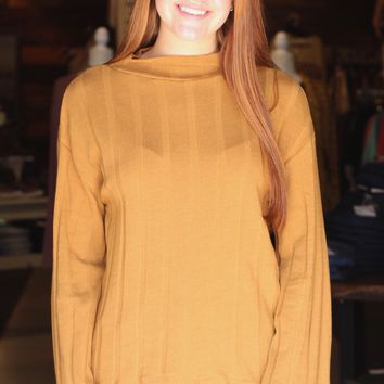{Camel} Ribbed Mock Neck L/S Sweater