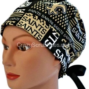 Women's Fold-Up Pixie Style Surgical Scrub Cap Hat in New Orleans Saints Squares