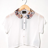Motel Vintage Andy Collared Crop Blouse 0166 ONE SIZE