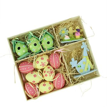 Set of 13 Pink  Blue  Green and Yellow Easter Egg  Birdhouse and Rooster Spring Decorations