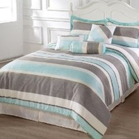 BACHELOR QUEEN Size Bed 7pc Comforter Set Light Blue, taupe, Beige Stripes