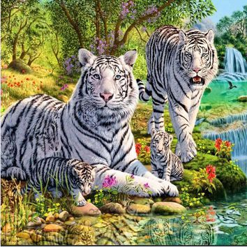 DIY 5D Diamond Mosaic the white tiger family picture Handmade Diamond Painting Cross Stitch Kits Diamond Embroidery Pattern