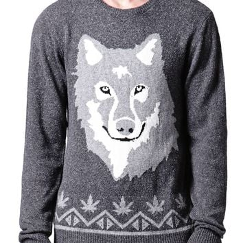 On The Byas Wolf Head Crew Sweater - Mens Sweater - Gray