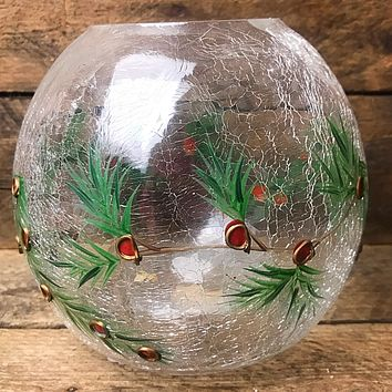 Holly Crackle Glass Holly Candle Globe