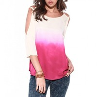 Final Sale - Ombre Open Shoulder Top • Hipster.Co