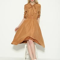 Long Sleeve Elastic Waist Bow Collar Dress