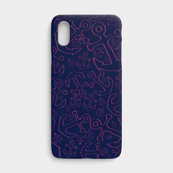Anchor Dream Cell Phone Case iPhone X - Pink on Navy