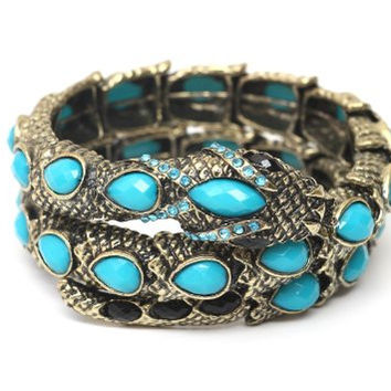 Coiled Serpent Cuff Gold Tone BC15 Turquoise Blue Crystal Snake Bracelet Bangle Vintage