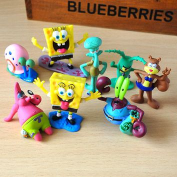 8pcs/set Spongebob figures toys doll Patrick star Action Figure Squidward Tentacles fish tank decoration kids birthday gift